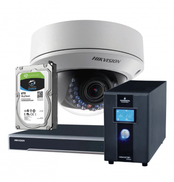2.8-12mm Camera Dome Varifocal + Gravador de vídeo NVR IP 2 canais 4K / 8 canais 1080P + HD Seagate Skyhawk 6TB + Nobreak Vertiv 1KVA
