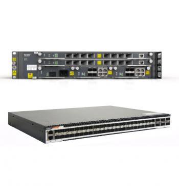 OLT 2 SLOTS com 1 Placa HSUB & Switch L3 48 portas 10GE SFP+ 6 portas 40GE QSFP com 2 fontes AC